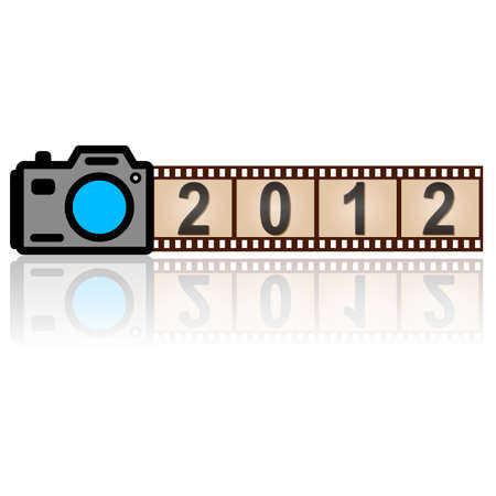 2012 New Year camera with  35mm film, vector. Stock Vector - 11298990