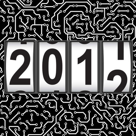new year counter: 2012 New Year counter, vector. Seamless pattern.