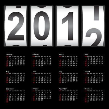 Stylish calendar  for 2012. Sundays first Vector