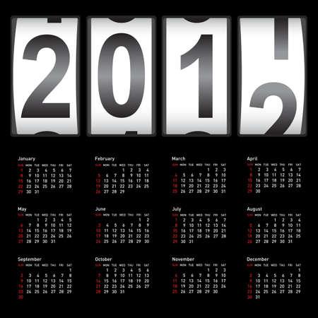 Stylish calendar  for 2012. Sundays first Stock Vector - 11299031