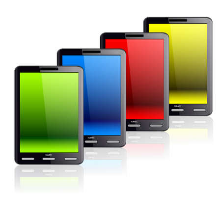 Vertical Tablet computer isolated on the white background. Four different colors stand one by one. Stock Vector - 11299052