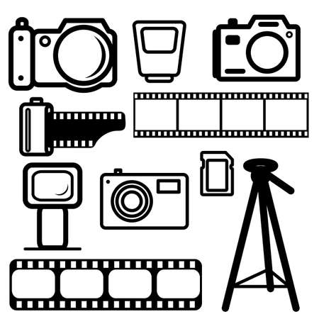 A set of digital cameras, tripod, film, flash. Stock Vector - 11298994