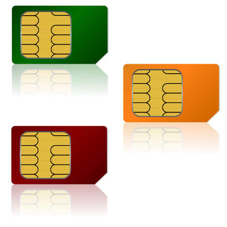 sim: Set vector SIM cards. Illustration