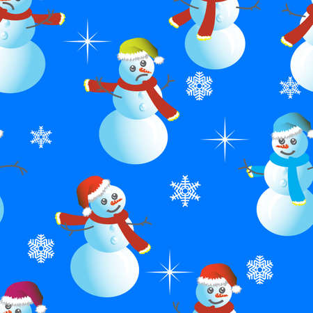 Seamless wallpaper from snowman and snowflakes Vector