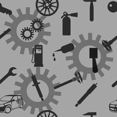 fix gear: Auto Car Repair Service Icon Symbol. Seamless wallpaper. Illustration
