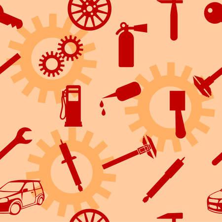 Auto Car Repair Service Icon Symbol. Seamless wallpaper. Ilustração