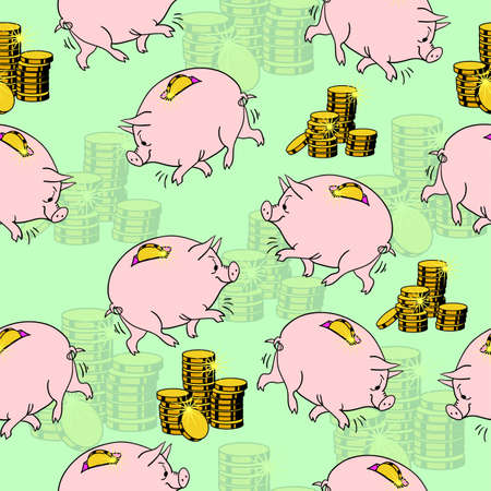 Pig piggy bank, gold coins. Seamless wallpaper. Vector