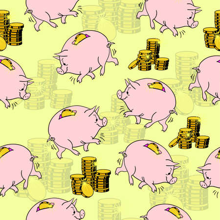 Pig piggy bank, gold coins. Seamless wallpaper. Stock Vector - 11299095