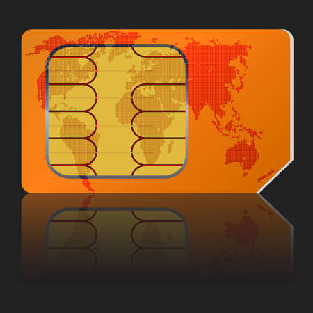 Sim card with a map of the world. Vector illustration. Vector