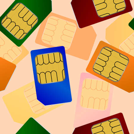 Sim card. Seamless wallpaper. Vector
