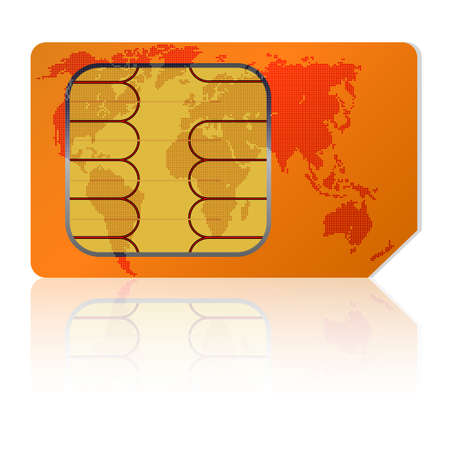sim: Sim card with a map of the world. Vector illustration.