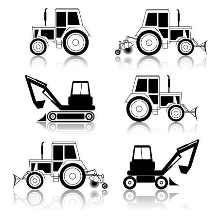 earth moving: excavadora bulldozer vector final aislado en blanco