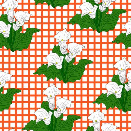 callas: Background with White Callas. Seamless wallpaper.