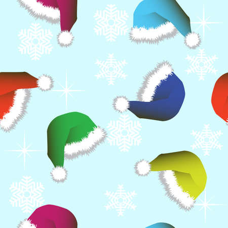 Seamless wallpaper from Winter Hats and snowflakes Vector