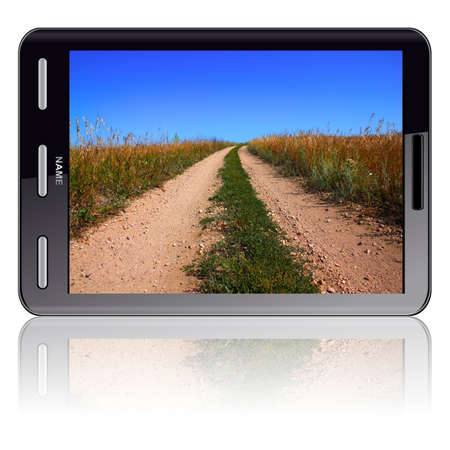 Vertical Tablet computer isolated on the white background. Screen saver road. Stock Photo - 11299104