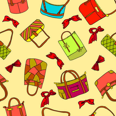 stuff: vector collection of womans accessories. Seamless wallpaper.