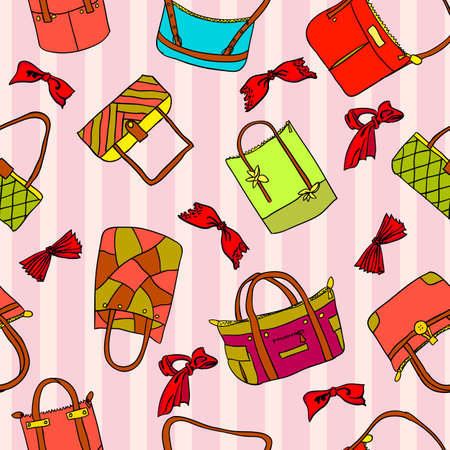 vector collection of womans accessories. Seamless wallpaper. Vector
