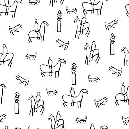 The figure shows the ancient drawings. Seamless wallpaper. Vector