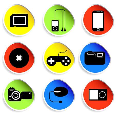 communicatie: Icon set van elektronische gadgets