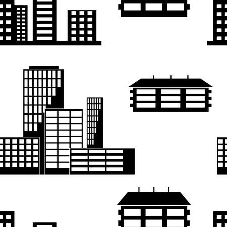 Different kind of houses and buildings. Seamless wallpaper.
