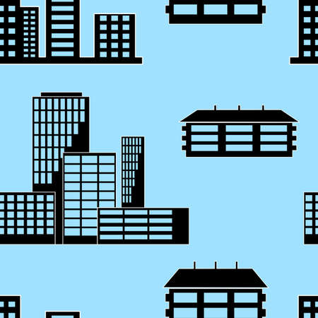 Different kind of houses and buildings. Seamless wallpaper. Vector