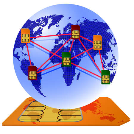 network card: Globe Sim card connecting continents. Illustration