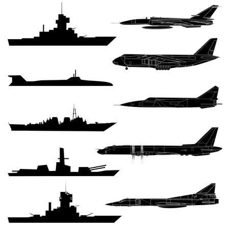 military silhouettes: A set of military aircraft, ships and submarines. Illustration
