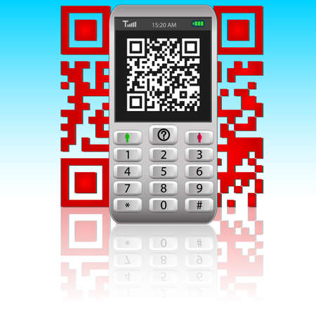Smartphone with QR code.  Vector