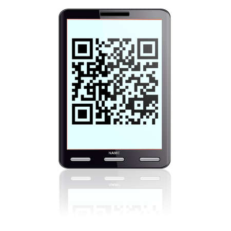 Tablet computer  with QR code.  Vector