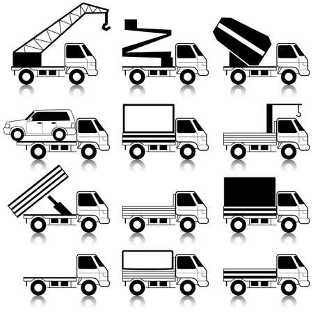 mode of transportation: Set di icone vettoriali - simboli di trasporto. Nero su bianco. Auto, veicoli. Carrozzeria. Vettoriali