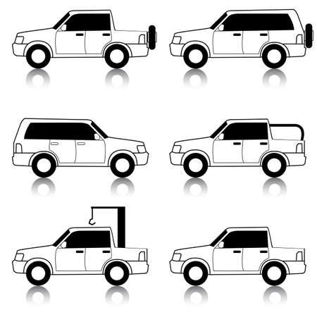 Set of vector icons - transportation symbols. Black on white. Cars, vehicles. Car body. Vector