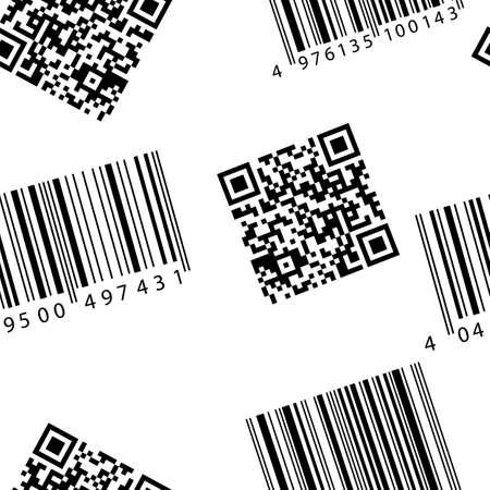 qrcode: Barcode and qr-code. Seamless vector wallpaper.