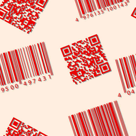 Barcode and qr-code. Seamless vector wallpaper.   Stock Vector - 11582755