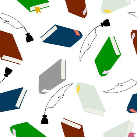 hardcover: seamless wallpaper, hardcover books  for education concept. Illustration