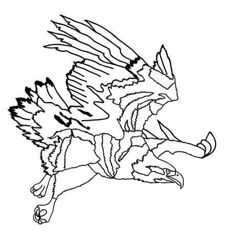swoop: Negro silueta picada Egle tatuaje. Vector Vectores