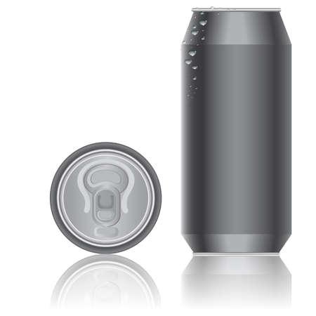 실린더: 음료 용 알루미늄 포장. 벡터.