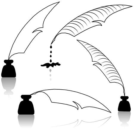 nib: Set Inkwell and feather for education concept.