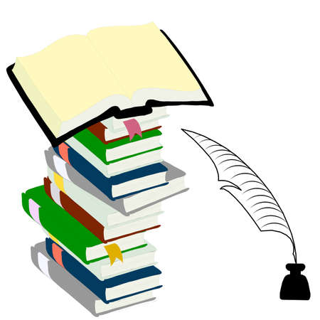 Tintero y pluma de libros de tapa dura para el concepto de la educación.