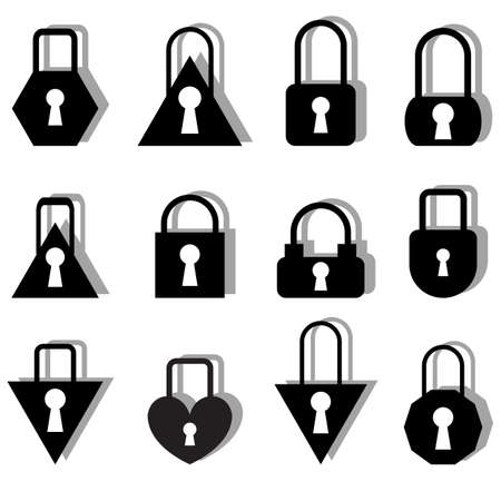 A set of metal locks of different shapes on a white background. Stock Vector - 11845252