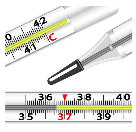 Medical glass mercury thermometer on white background. Vector