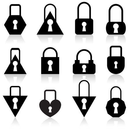 A set of metal locks of different shapes on a white background. Stock Vector - 11845267