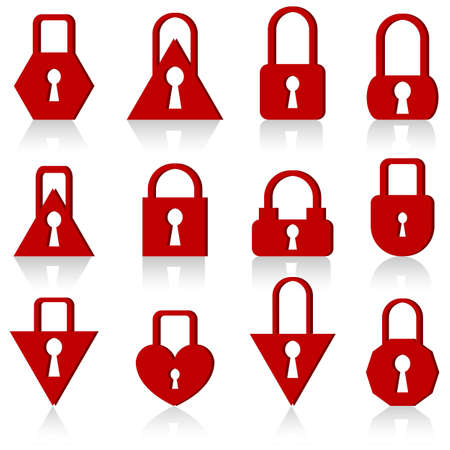 A set of metal locks of different shapes on a white background. Stock Vector - 11845268