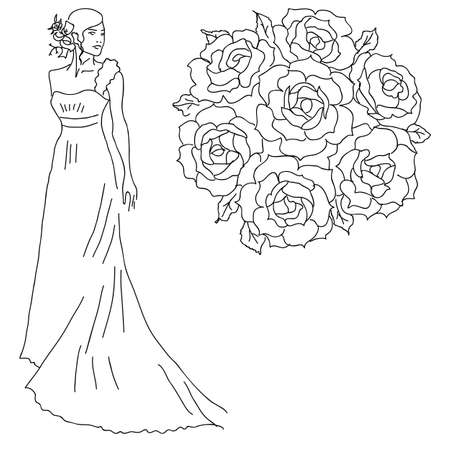 cartoon bouquet: Silhouette of a bride with a bouquet of flowers.