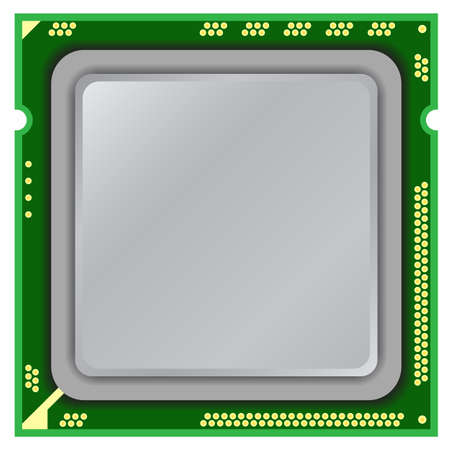 Modern computer processor on a white background. Vector