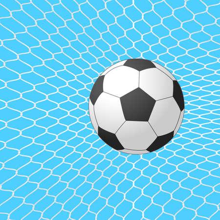 Soccer ball in goal. Vector.