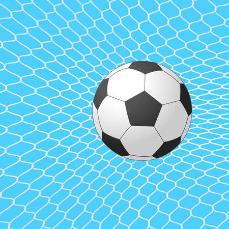 Soccer ball in goal. Vector. Vector