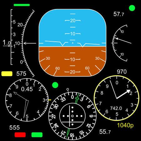 panel de control: Panel de control en una cabina de avión Vectores