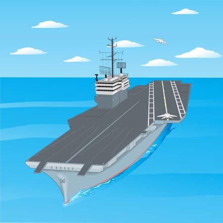 azul marino: Despegue de los aviones desde la cubierta de un portaaviones en el mar. Vectores
