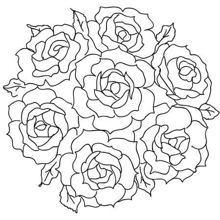 장미의 대형 꽃다발. 벡터