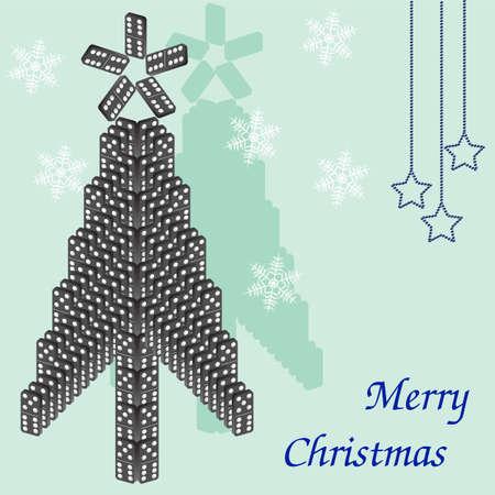 dominoes: A beautiful tree of dominoes. Christmas card.